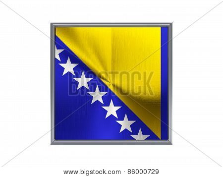 Square Metal Button With Flag Of Bosnia And Herzegovina