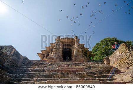 Ahmedabad, India - December 25, 2014: Indian People Visit Sun Temple Modhera In Ahmedabad, India