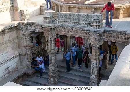 Ahmedabad, India - December 25, 2014: Indian People Visit Adalaj Stepwell In Ahmedabad
