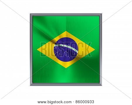 Square Metal Button With Flag Of Brazil