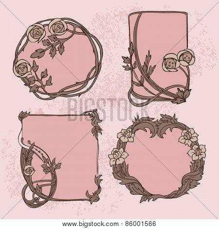 Vector Modern (Art nouveau) Ornament Floral Frame