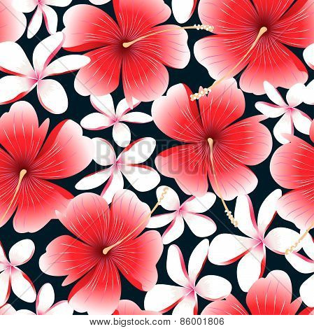 Red Tropical Hibiscus Flower With Frangipani Seamless Pattern