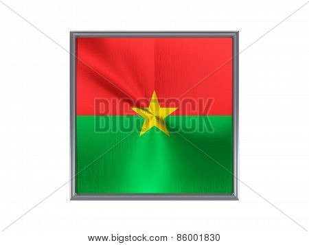 Square Metal Button With Flag Of Burkina Faso