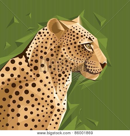 Portrait Of A Leopard Vector Illustration