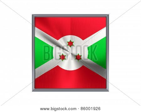 Square Metal Button With Flag Of Burundi