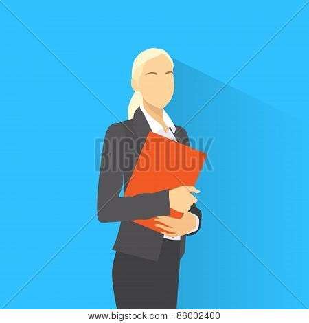Businesswoman with document clipboard and pen wear suit flat icon