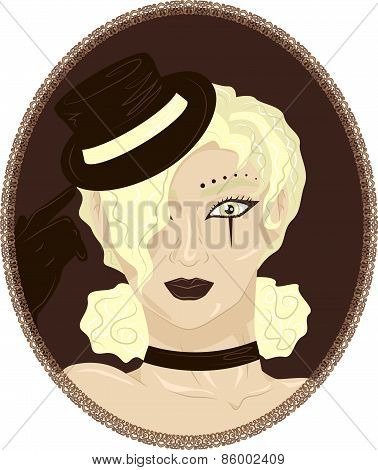 Vintage portrait of pretty blond circus girl