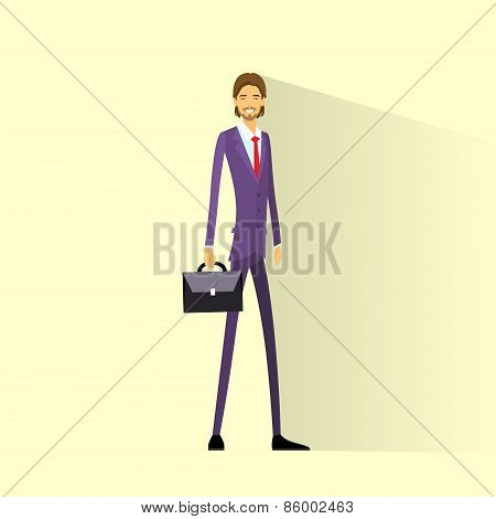 Businessman smile hold briefcase, full length business man flat icon