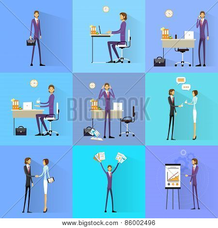 Business man working set office desk flat design