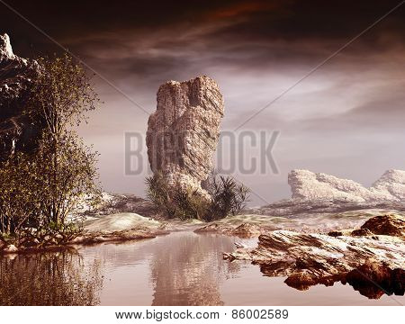 3D landscape illustration where stands a large rock