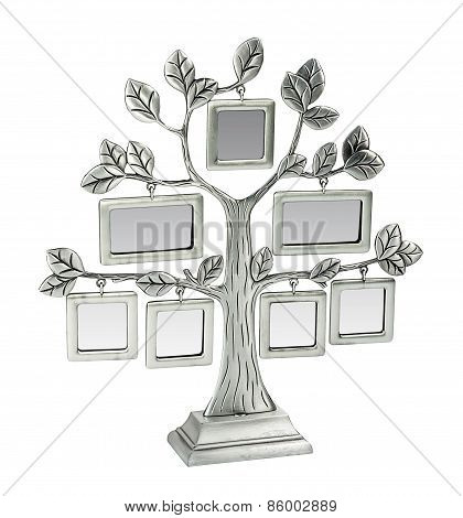 Isolated Silver Floral Tree With Leaves And Frames For Your Photos