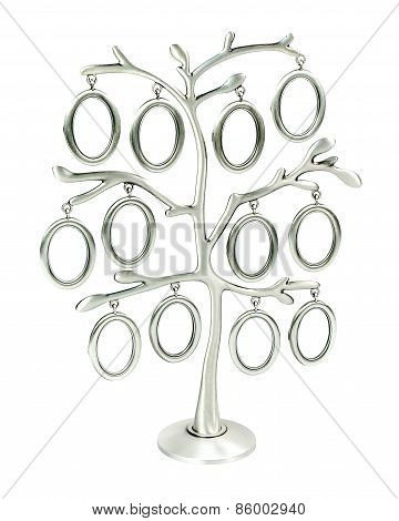 Isolated Silver Floral Tree With Leaves And Oval Frames For Your Photos