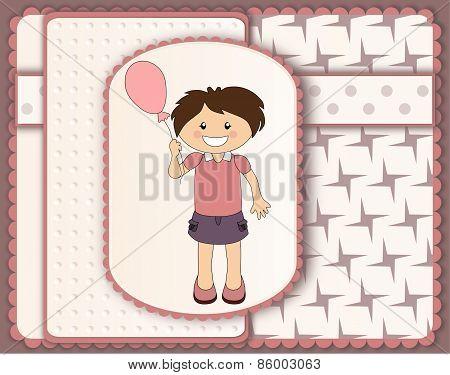 Beautiful Scrapbook Card With Cartoon Girl