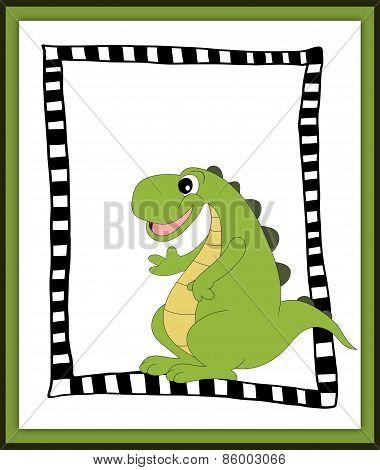 Cartoon Dinosaur In Scrapbook Style