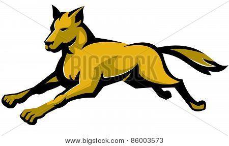 Wild Dog Wolf Jumping Retro