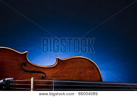 Old Violin On Blue