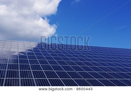 Solar panel and blue sky