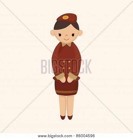 Flight Attendants Theme Elements Vector,eps