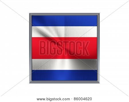 Square Metal Button With Flag Of Costa Rica