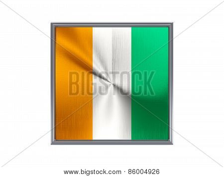 Square Metal Button With Flag Of Cote D Ivoire