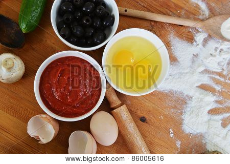 Bowls With Eggs And Olives