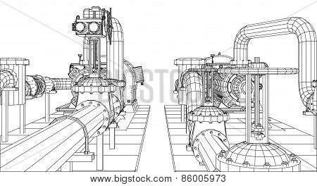 Wire-frame  industrial equipment oil and gas pump. Tracing illustration of 3d. EPS 10 vector format