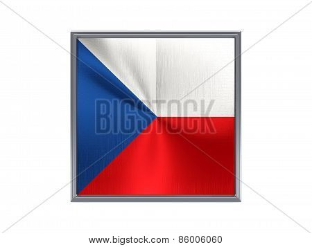 Square Metal Button With Flag Of Czech Republic