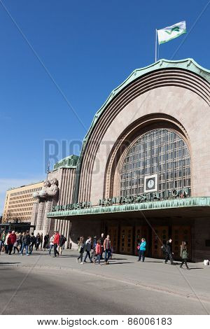 Helsinki,finland - March 29 2014:the Square In Front Of The Railway Station In The City Of Helsinki
