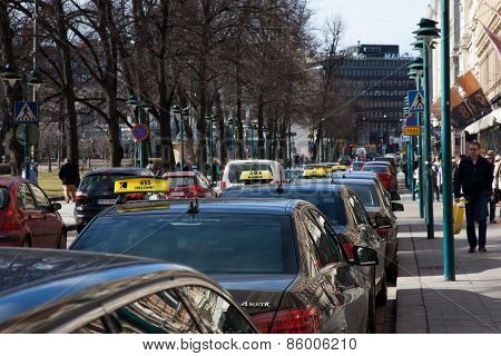 Helsinki, Finland - March 29:taxi On Streets Of Helsinki,