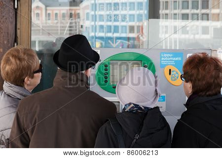 Helsinki, Finland - March 29:turn To An Automatic Ticket Office In Helsinki.