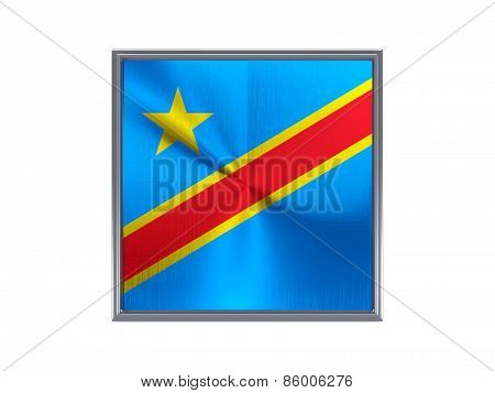 Square Metal Button With Flag Of Democratic Republic Of The Congo