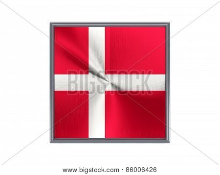 Square Metal Button With Flag Of Denmark