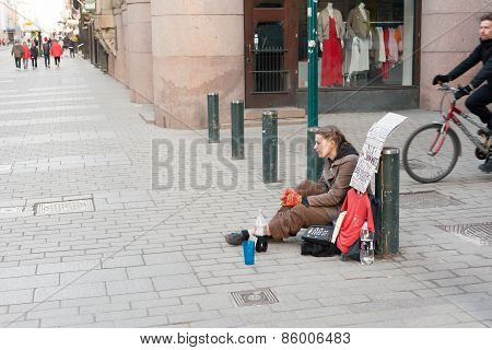 Helsinki, Finland - March 29:the Refugee Begs On The Street Of Helsinki,