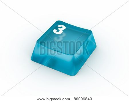 Keyboard button with number THREE