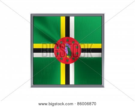 Square Metal Button With Flag Of Dominica