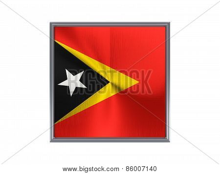 Square Metal Button With Flag Of East Timor