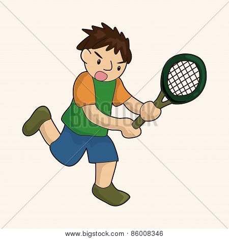 Tennis Player Theme Elements Vector,eps