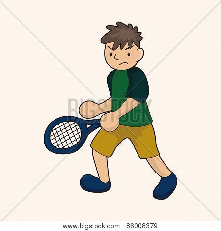 Tennis Player Theme Elements Vector,eps