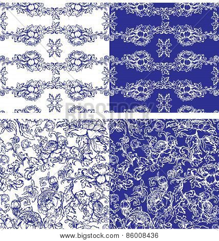 Floral Seamless Background In White And Blue Colors. Handdrawn Flowers.
