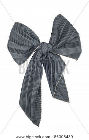Silk Scarf. Black Silk Scarf Folded Like Bowknot
