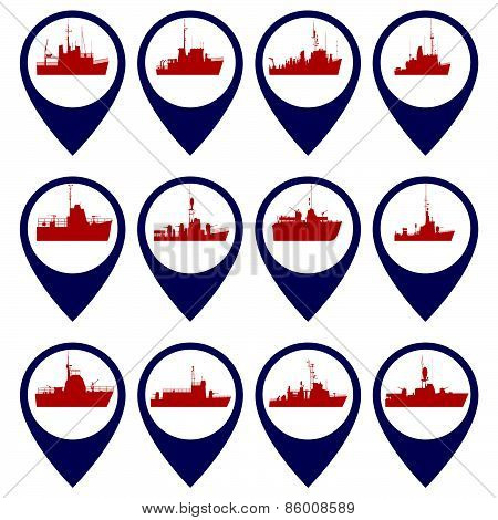 Badges with Navy ships-4