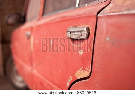 The Back Door Of Old Car