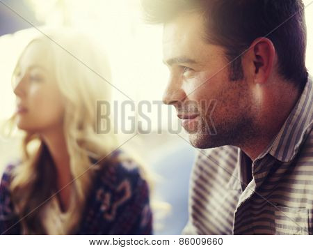 portrait of man with girl in background, has image filter and extreme selective focus