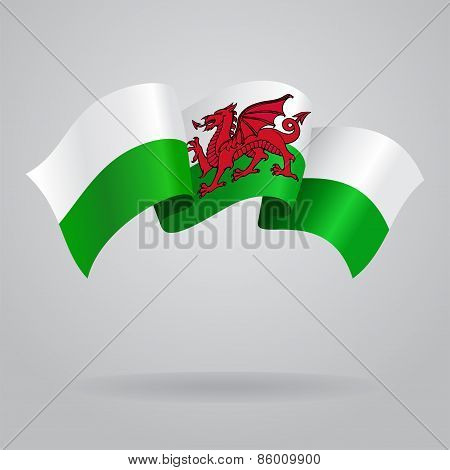 Welsh waving Flag. Vector illustration