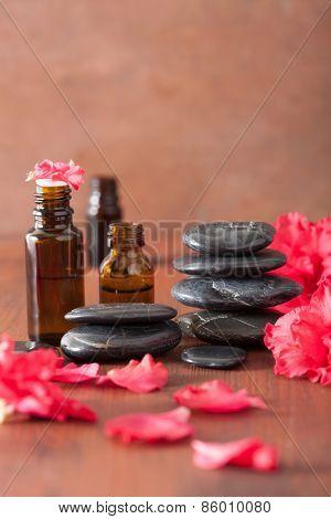 essential oil azalea flowers black massage stones