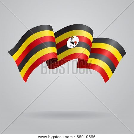 Ugandan waving Flag. Vector illustration