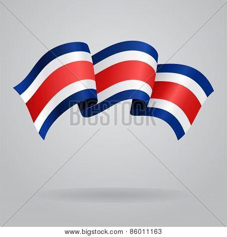 Costa Rican waving Flag. Vector illustration