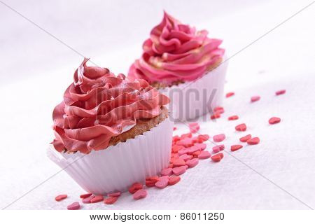 Delicious cupcakes on table close-up