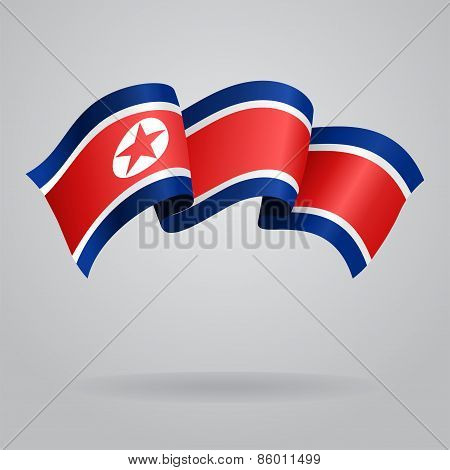 North Korean waving Flag. Vector illustration