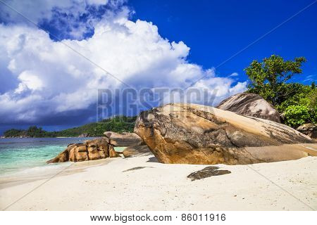 scenic beach on Seychelles, Mahe island